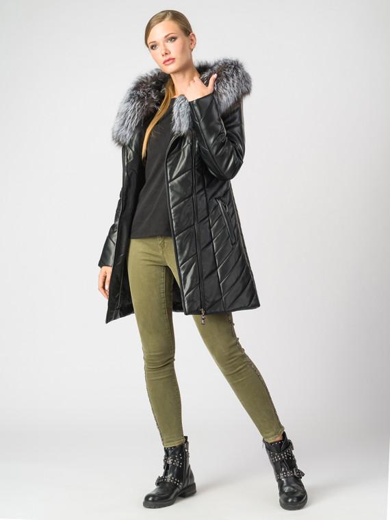 Кожаная куртка эко-кожа 100% П/А, цвет черный металлик, арт. 18006876  - цена 8990 руб.  - магазин TOTOGROUP
