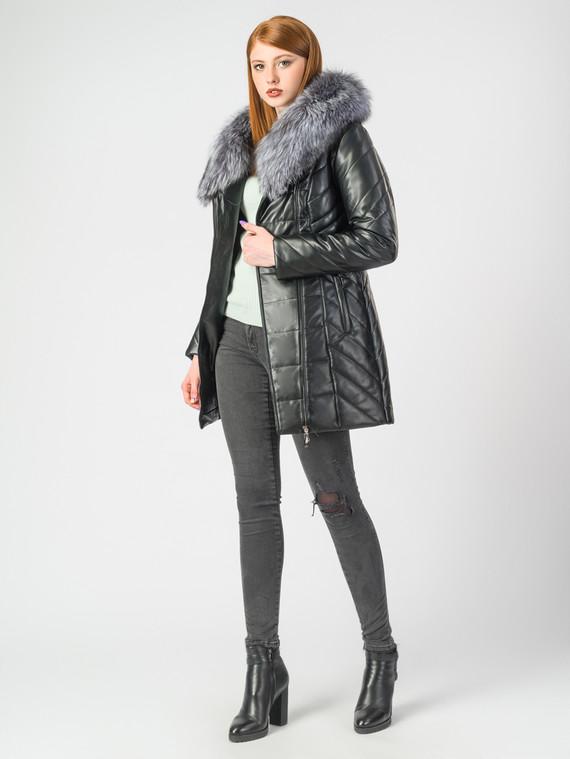 Кожаная куртка эко-кожа 100% П/А, цвет черный металлик, арт. 18006877  - цена 8990 руб.  - магазин TOTOGROUP
