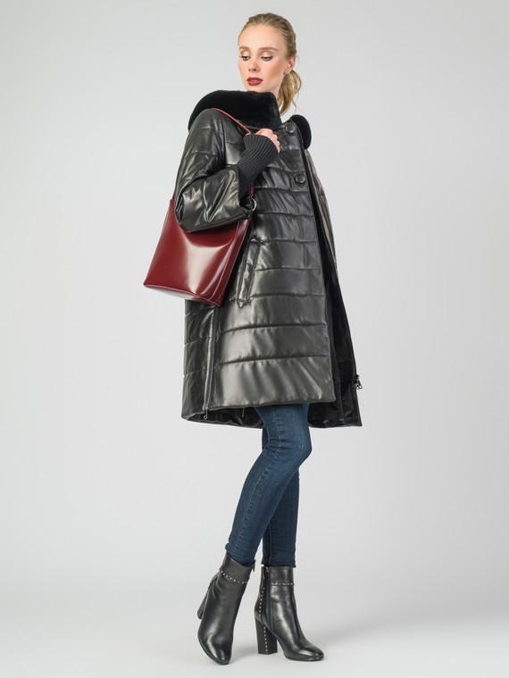 Кожаное пальто кожа, цвет черный металлик, арт. 18006893  - цена 18990 руб.  - магазин TOTOGROUP