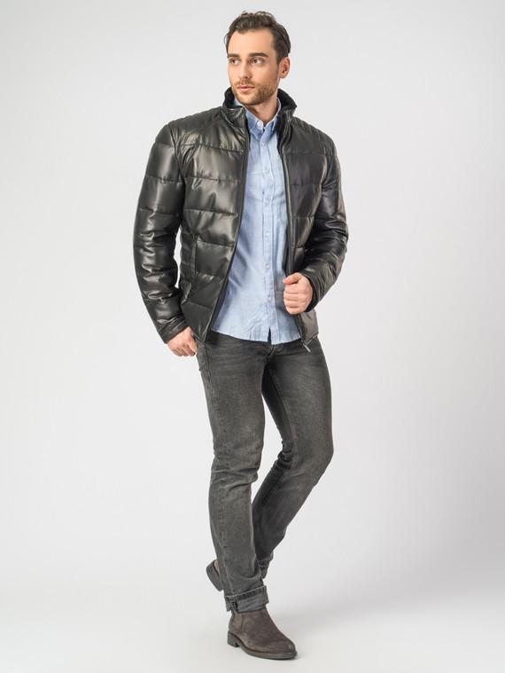 Кожаная куртка кожа, цвет черный, арт. 18006894  - цена 14190 руб.  - магазин TOTOGROUP