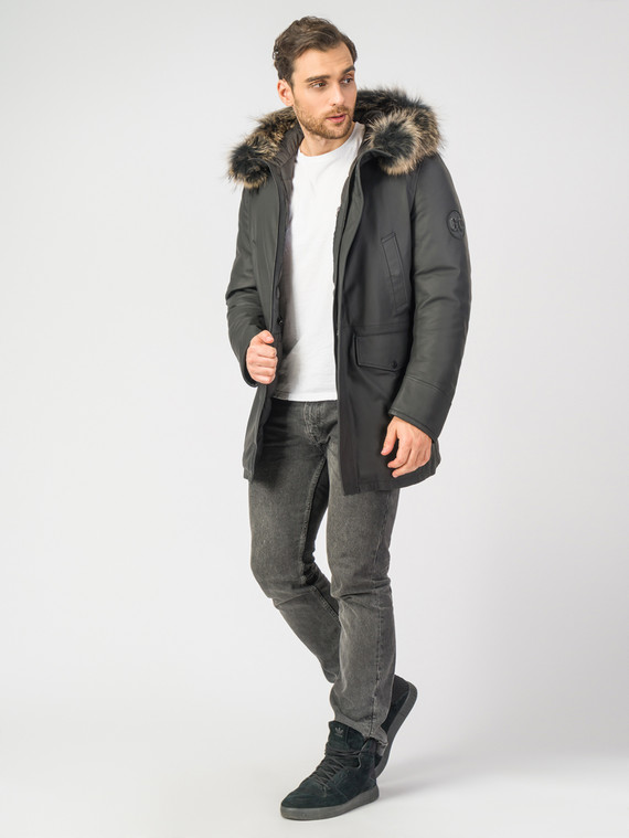 Кожаная куртка кожа , цвет черный, арт. 18006898  - цена 16990 руб.  - магазин TOTOGROUP