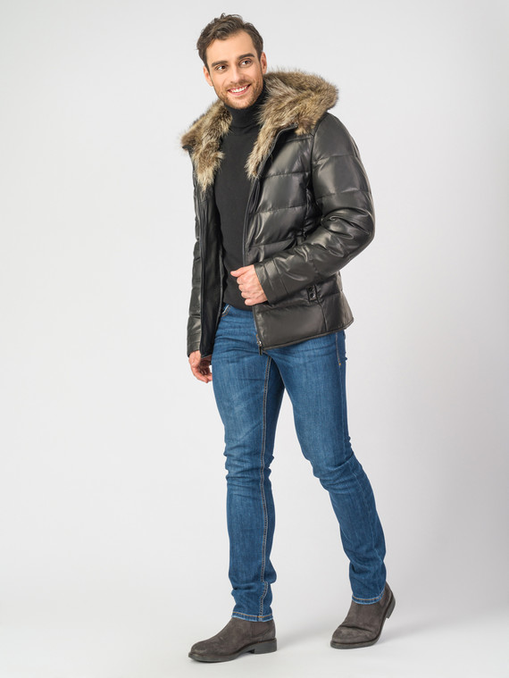 Кожаная куртка кожа , цвет черный, арт. 18006899  - цена 15990 руб.  - магазин TOTOGROUP