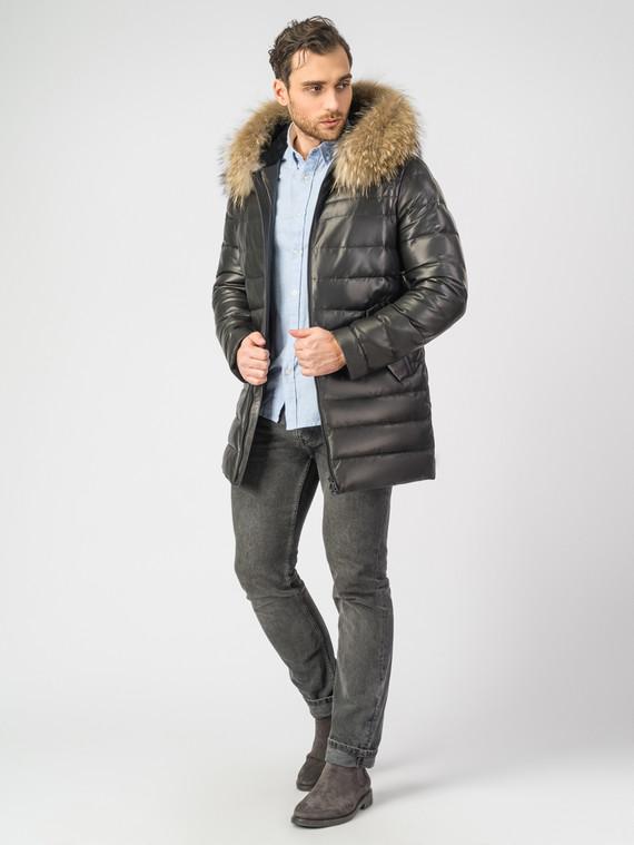 Кожаная куртка кожа, цвет черный, арт. 18006903  - цена 18990 руб.  - магазин TOTOGROUP