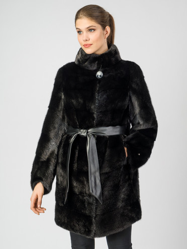 Шуба из норки мех норка, цвет черный, арт. 18006930  - цена 59990 руб.  - магазин TOTOGROUP