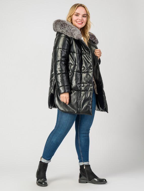 Кожаное пальто эко-кожа 100% П/А, цвет черный, арт. 18006974  - цена 6290 руб.  - магазин TOTOGROUP