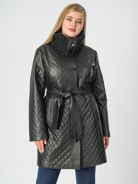 Кожаное пальто эко-кожа 100% П/А, цвет черный, арт. 18006979  - цена 8490 руб.  - магазин TOTOGROUP