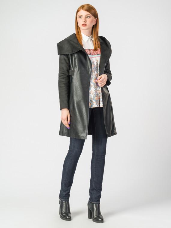 Кожаное пальто эко-кожа 100% П/А, цвет черный, арт. 18006980  - цена 6990 руб.  - магазин TOTOGROUP
