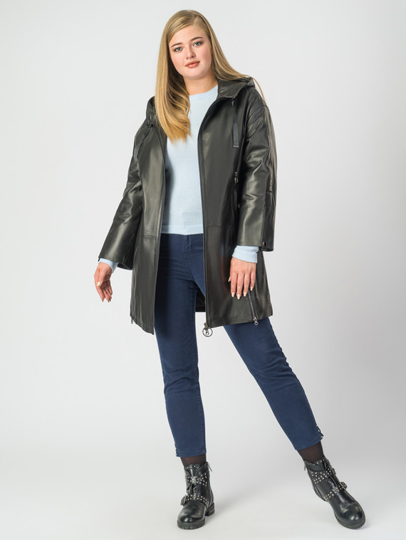 Кожаное пальто кожа , цвет черный, арт. 18006982  - цена 18990 руб.  - магазин TOTOGROUP