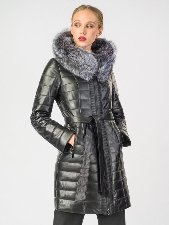 Кожаное пальто кожа , цвет черный металлик, арт. 18006983  - цена 18990 руб.  - магазин TOTOGROUP