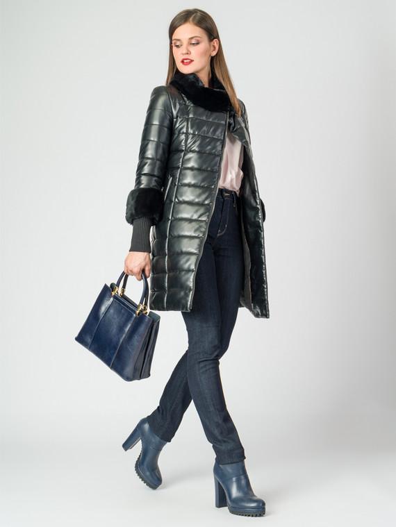 Кожаное пальто эко-кожа 100% П/А, цвет черный металлик, арт. 18006988  - цена 13390 руб.  - магазин TOTOGROUP