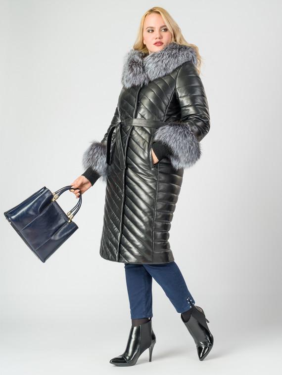 Кожаное пальто кожа , цвет черный металлик, арт. 18006990  - цена 35990 руб.  - магазин TOTOGROUP