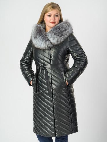 Кожаное пальто эко-кожа 100% П/А, цвет черный металлик, арт. 18006998  - цена 14190 руб.  - магазин TOTOGROUP