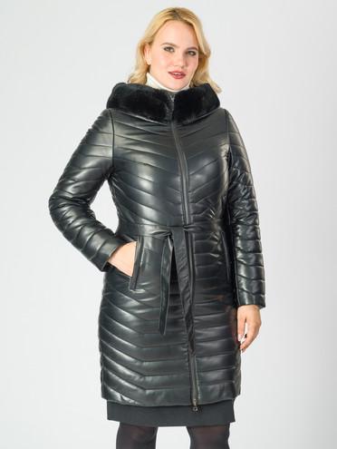 Кожаное пальто эко-кожа 100% П/А, цвет черный металлик, арт. 18007003  - цена 9490 руб.  - магазин TOTOGROUP