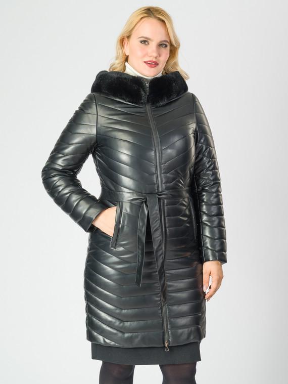 Кожаное пальто эко-кожа 100% П/А, цвет черный металлик, арт. 18007003  - цена 11290 руб.  - магазин TOTOGROUP