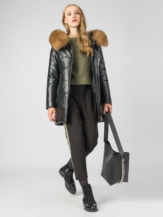 Кожаное пальто эко-кожа 100% П/А, цвет черный металлик, арт. 18007005  - цена 7990 руб.  - магазин TOTOGROUP