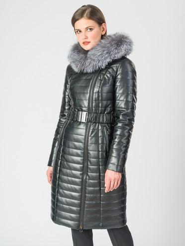 Кожаное пальто эко-кожа 100% П/А, цвет черный металлик, арт. 18007006  - цена 10590 руб.  - магазин TOTOGROUP