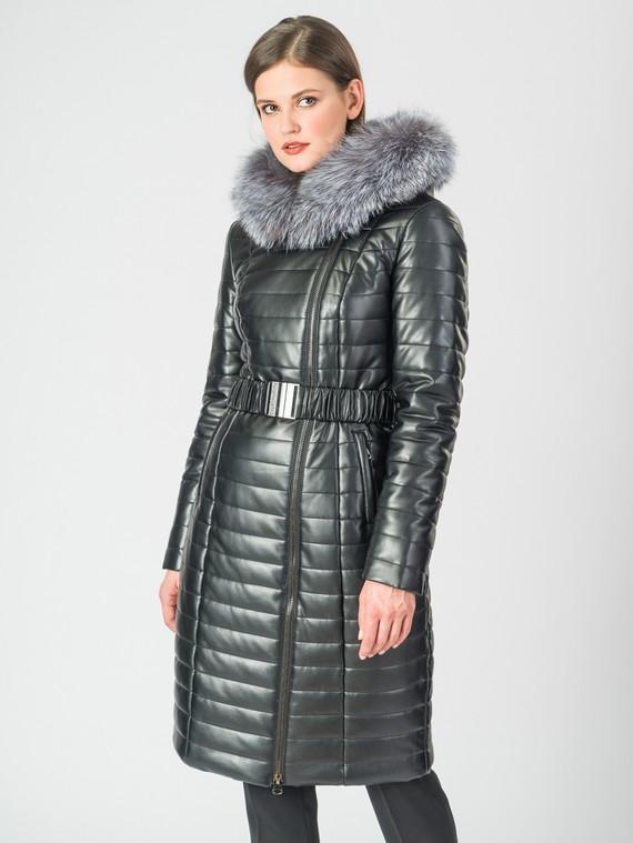 Кожаное пальто эко-кожа 100% П/А, цвет черный металлик, арт. 18007006  - цена 11290 руб.  - магазин TOTOGROUP