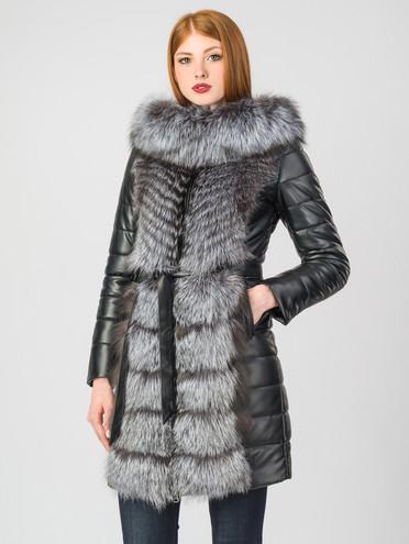 Кожаное пальто эко-кожа 100% П/А, цвет черный, арт. 18007013  - цена 16990 руб.  - магазин TOTOGROUP