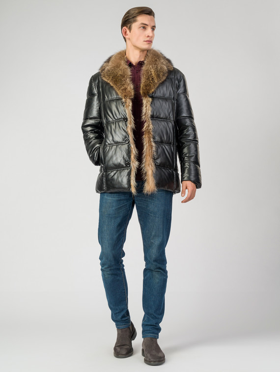 Кожаная куртка эко-кожа 100% П/А, цвет черный, арт. 18007068  - цена 7990 руб.  - магазин TOTOGROUP