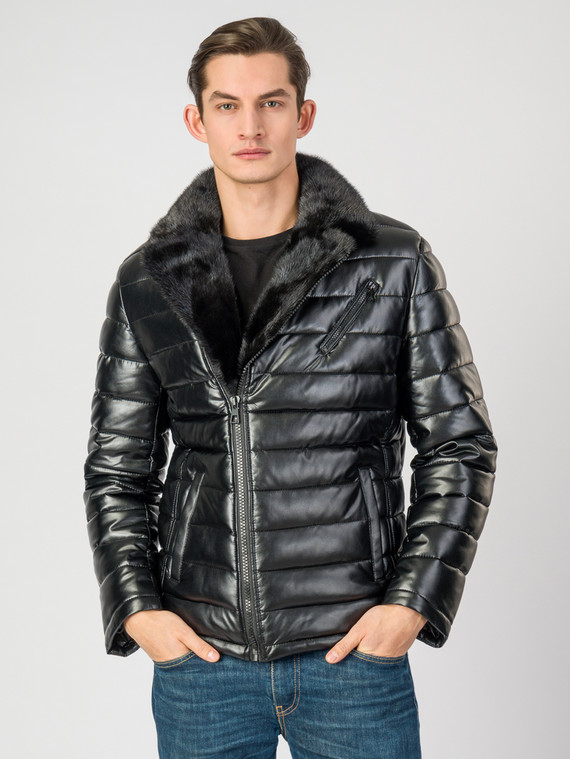 Кожаная куртка эко-кожа 100% П/А, цвет черный, арт. 18007070  - цена 8490 руб.  - магазин TOTOGROUP