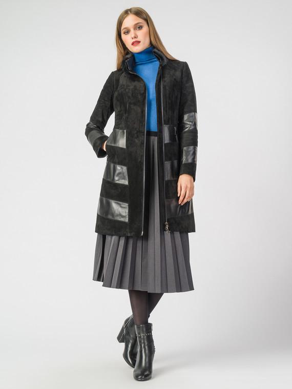 Кожаное пальто кожа замша, цвет черный, арт. 18007093  - цена 17990 руб.  - магазин TOTOGROUP