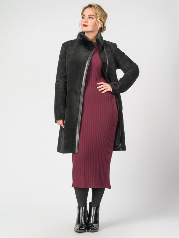 Кожаное пальто кожа замша, цвет черный, арт. 18007094  - цена 22690 руб.  - магазин TOTOGROUP