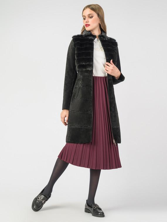 Кожаное пальто кожа замша, цвет черный, арт. 18007095  - цена 19990 руб.  - магазин TOTOGROUP