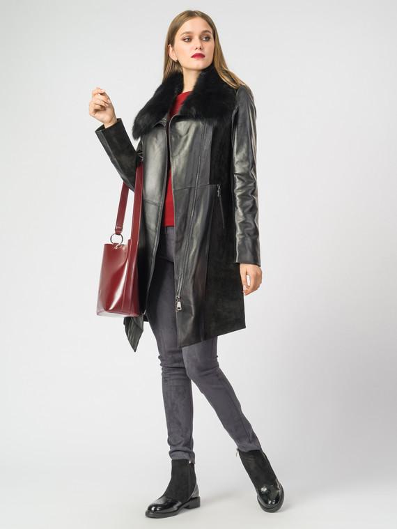 Кожаное пальто кожа , цвет черный, арт. 18007096  - цена 21290 руб.  - магазин TOTOGROUP