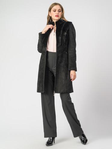 Кожаное пальто кожа замша, цвет черный, арт. 18007097  - цена 19990 руб.  - магазин TOTOGROUP