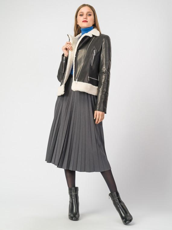 Кожаная куртка кожа коза, цвет черный, арт. 18007100  - цена 15990 руб.  - магазин TOTOGROUP