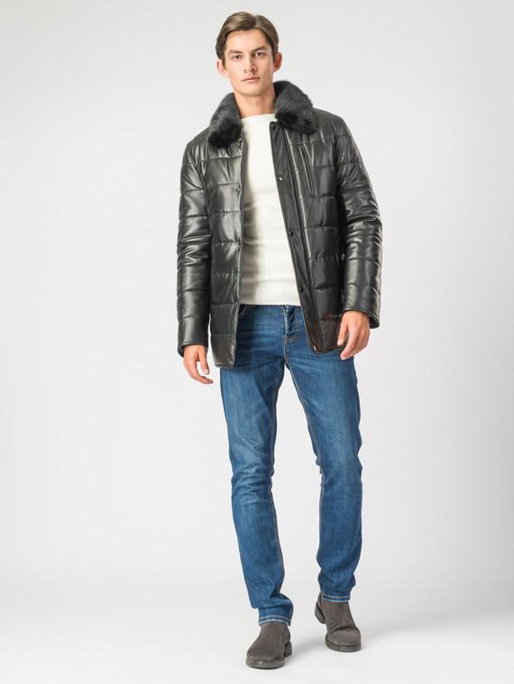 Кожаная куртка кожа , цвет черный, арт. 18007117  - цена 18990 руб.  - магазин TOTOGROUP