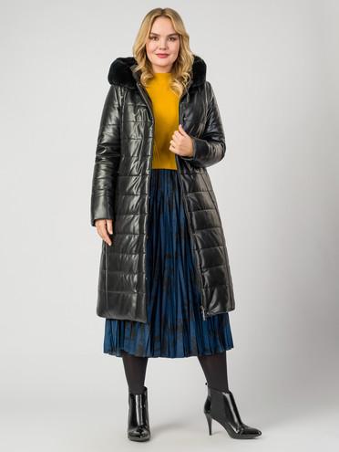 Кожаное пальто эко-кожа 100% П/А, цвет черный, арт. 18007121  - цена 9990 руб.  - магазин TOTOGROUP