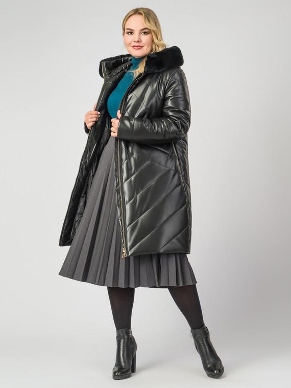 Кожаное пальто эко-кожа 100% П/А, цвет черный, арт. 18007124  - цена 14190 руб.  - магазин TOTOGROUP