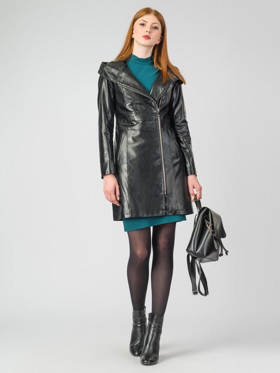 Кожаное пальто эко-кожа 100% П/А, цвет черный, арт. 18007125  - цена 5290 руб.  - магазин TOTOGROUP