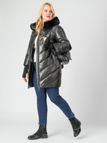 Кожаное пальто кожа , цвет черный металлик, арт. 18007127  - цена 26990 руб.  - магазин TOTOGROUP