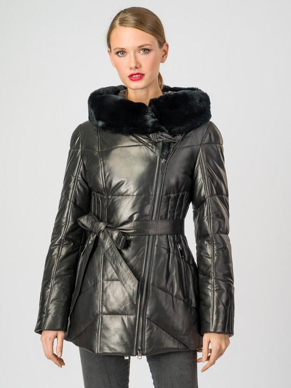 Кожаная куртка кожа , цвет черный, арт. 18007129  - цена 14990 руб.  - магазин TOTOGROUP