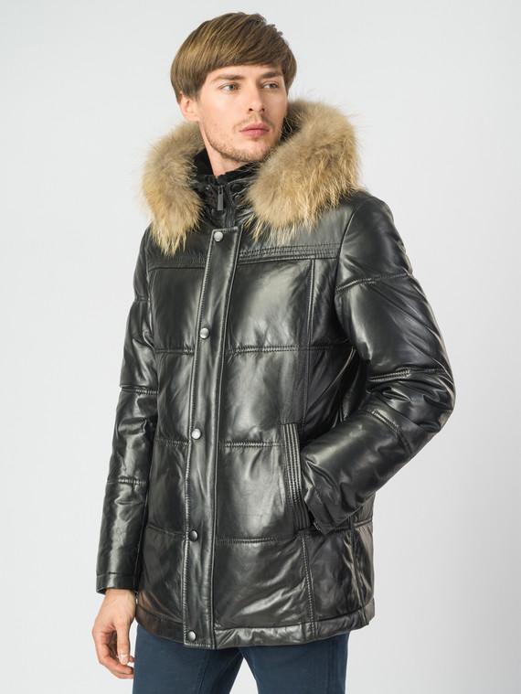 Кожаная куртка кожа , цвет черный, арт. 18007174  - цена 16990 руб.  - магазин TOTOGROUP