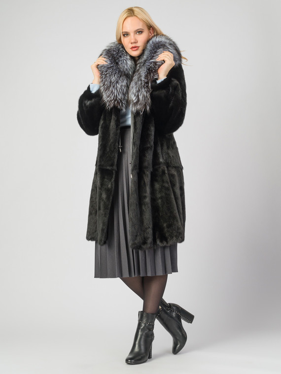 Шуба из норки мех норка, цвет черный, арт. 18007177  - цена 105990 руб.  - магазин TOTOGROUP