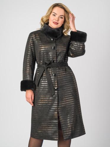 Кожаное пальто эко-замша 100% П/А, цвет черный, арт. 18007181  - цена 14190 руб.  - магазин TOTOGROUP