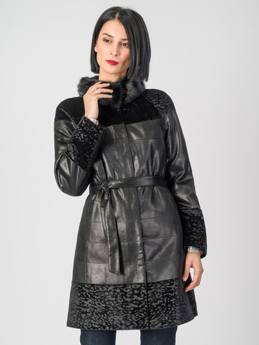 Кожаное пальто эко-замша 100% П/А, цвет черный, арт. 18007182  - цена 8490 руб.  - магазин TOTOGROUP