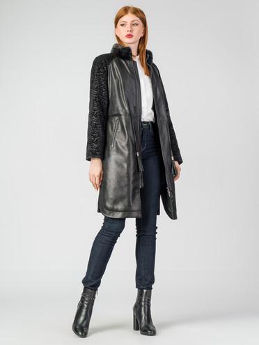 Кожаное пальто эко-замша 100% П/А, цвет черный, арт. 18007183  - цена 8490 руб.  - магазин TOTOGROUP