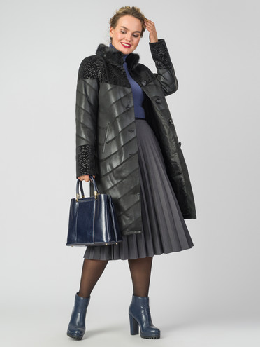 Кожаное пальто эко-замша 100% П/А, цвет черный, арт. 18007184  - цена 9990 руб.  - магазин TOTOGROUP