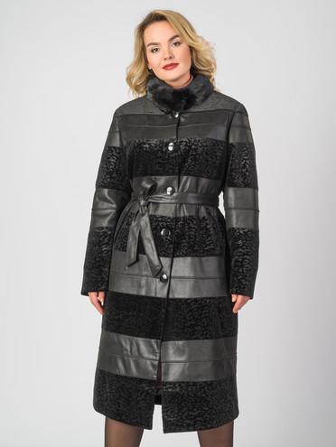 Кожаное пальто эко-замша 100% П/А, цвет черный, арт. 18007185  - цена 8990 руб.  - магазин TOTOGROUP