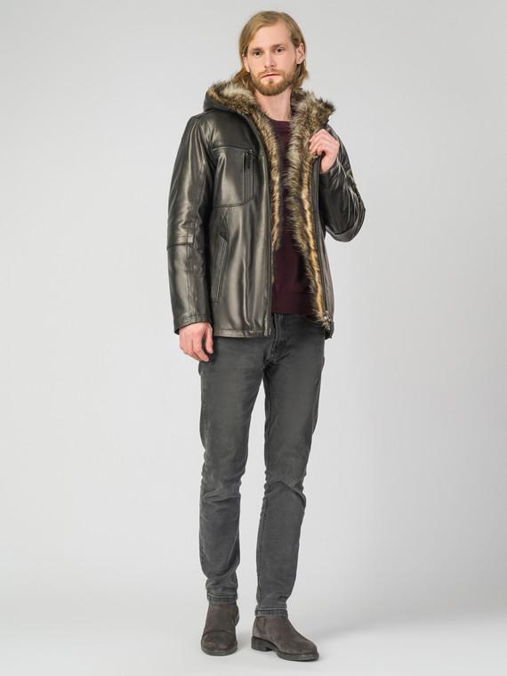 Кожаная куртка кожа коза, цвет черный, арт. 18007261  - цена 23990 руб.  - магазин TOTOGROUP