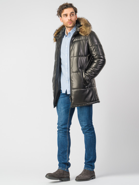 Кожаная куртка кожа , цвет черный, арт. 18007262  - цена 31990 руб.  - магазин TOTOGROUP