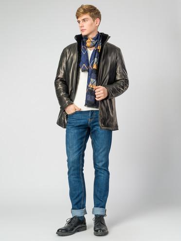 Кожаная куртка кожа, цвет черный, арт. 18007263  - цена 7490 руб.  - магазин TOTOGROUP