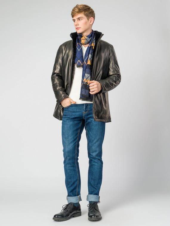Кожаная куртка кожа, цвет черный, арт. 18007263  - цена 19990 руб.  - магазин TOTOGROUP