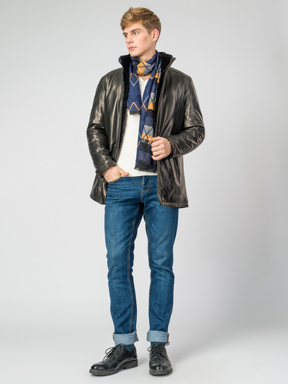 Кожаная куртка кожа , цвет черный, арт. 18007263  - цена 29990 руб.  - магазин TOTOGROUP