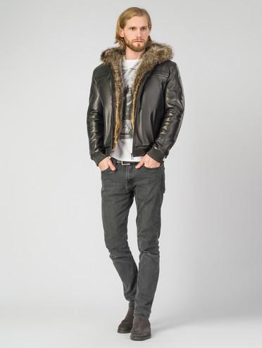 Кожаная куртка кожа , цвет черный, арт. 18007266  - цена 28490 руб.  - магазин TOTOGROUP