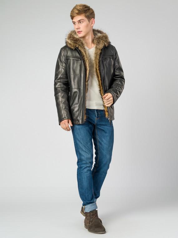 Кожаная куртка кожа , цвет черный, арт. 18007269  - цена 35990 руб.  - магазин TOTOGROUP